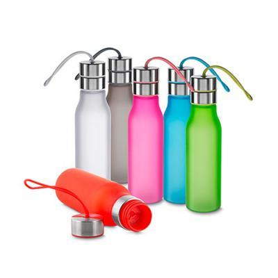 mr-cooler - Garrafa plástica 600 ml com filtro, alça de silicone e tampa de metal.