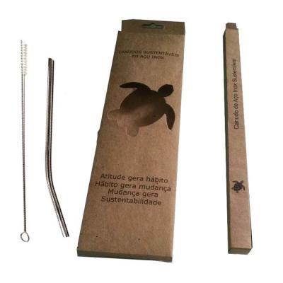 MR Cooler - Kit Canudo de Metal Personalizado com Caixa. Contém 1 canudo, uma escova e a embalagem em Papelão.