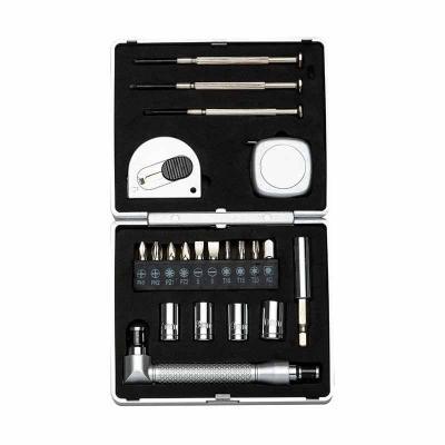 """MR Cooler - Kit ferramenta 21 peças com caixa de plástico resistente, para abrir basta pressionar botão """"push"""" na parte central.  Possui: 3 mini chaves de fenda,..."""