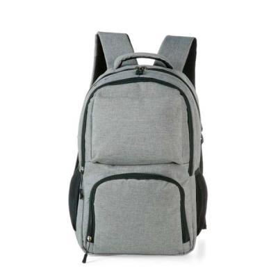 Mochila cinza em Nylon com compartimento para notebook e detalhes neoprene. Possui compartimento grande com bolso interno; compartimento médio com bol... - MR Cooler
