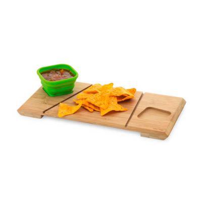 Base de mesa com 2 potes. Bambu e silicone. Incluso caixa de cartão. Food grade. Potes: 87 x 87 x 50 mm | Base: 347 x 168 x 19 mm | Caixa: 355 x 175 x... - MR Cooler