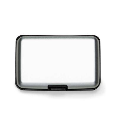mr-cooler - Porta cartão plástico com 7 divisórias internas.  Frente e verso liso, possui botão central com seta indicativa para abertura.