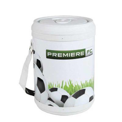 - Cooler promocional com capacidade para 24 latas.