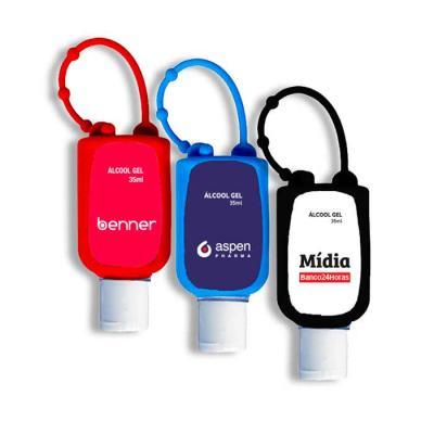 Porta álcool em gel personalizado produzido em silicone flexível. Possui 4 níveis de ajustes idea...