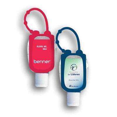 Chaveiro porta álcool gel em material emborrachado completo acompanha frasco 35 ml com álcool gel 70 %. Possui argola flexível com 3 níveis de ajustes ideal para pendurara em bolsas ou mochilas. Perso