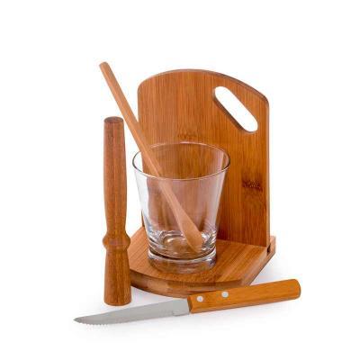 """Kit caipirinha com 6 peças com Tábua, base, amassador, colher, faca de mesa 4"""" em bambu/aço inox,..."""