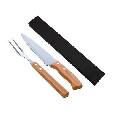 """Kit churrasco com faca e garfo em bambu/aço inox. Disponível com faca de 7"""" (XTU4132) e com faca ..."""