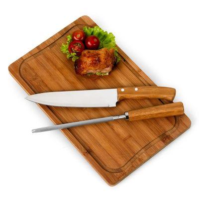 Promozionale Brindes - Kit churrasco com 3 peças de bambu e inox