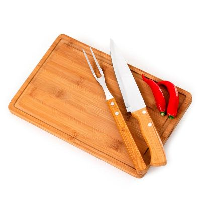 promozionale-brindes - Kit churrasco com 3 peças de bambu e inox