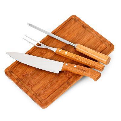 promozionale-brindes - Kit churrasco 4 peças de bambu e inox