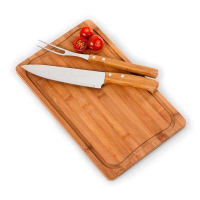 promozionale-brindes - Kit churrasco 3 peças Bambu Inox