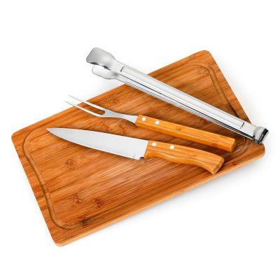 promozionale-brindes - Kit churrasco 4 peças Bambu inox