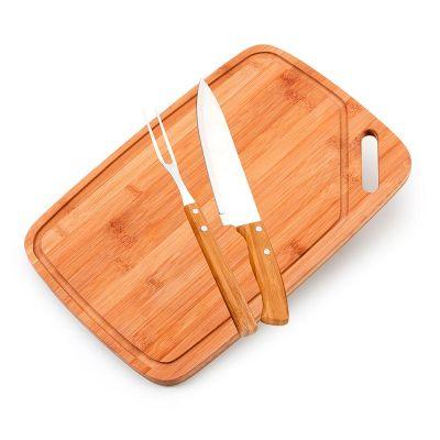Promozionale Brindes - Kit churrasco 3 peças Bambu e inox
