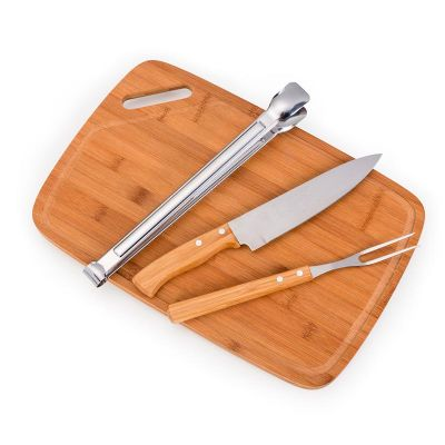 Kit churrasco com 4 peças Bambu inox - Promozionale Brindes