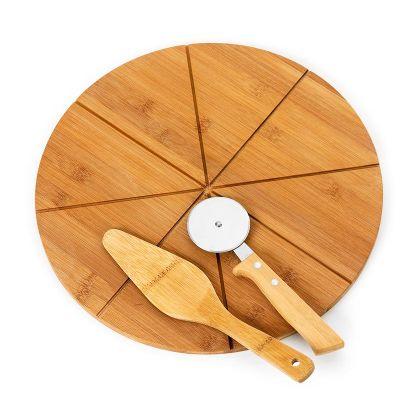 promozionale-brindes - Kit pizza com espatula e cortador personalizado.