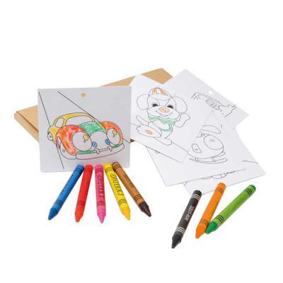 Kit para colorir em caixa de cartão. Cartão. Incluso 8 gizes de cera e 8 cartões para pintar e pendurar. 180 x 90 x 10 mm - Vintore Brindes Especiais