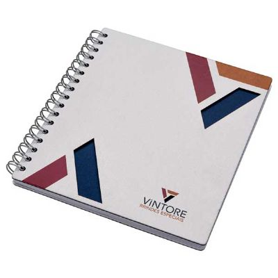 Vintore Brindes Especiais - Capa 205 X 230 mm, Contra capa cartão revestido com papeis especiais, Miolo 100 folhas 1 x 1,Papel off-set, dados pessoais padrão e calendários, acaba...