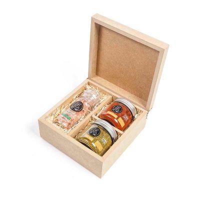 Kit com 2 temperos especiais gourmet e 1 moedor em caixa de madeira - Amélio Presentes