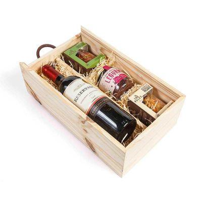 Kit vinho com aperitivos gourmet na caixa de madeira