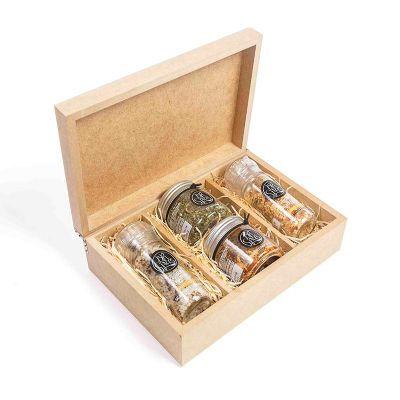 Kit com 2 temperos especiais gourmet e 2 moedores em caixa de madeira