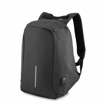 Amélio Presentes - Mochila p/ notebook, anti-furto, ziper protegido, conector USB externo na lateral, com cabo USB na parte interna para ligar power bank ou outro dispos...