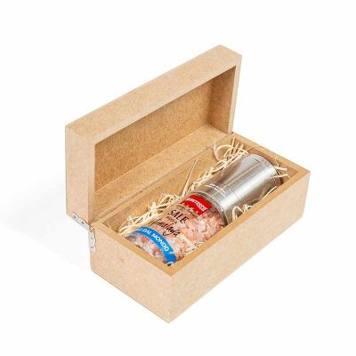 Tempero gourmet com moedor em caixa de madeira - Amélio Presentes