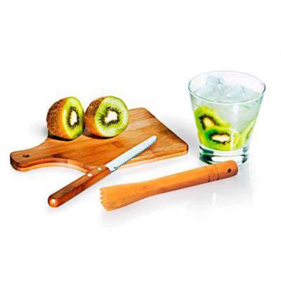 """Amélio Presentes - Conjunto composto por quatro acessórios para caipirinha, sendo um copo em vidro de 350ml, um socador/pilão em bambu, uma faca para frutas de 4"""" em aço..."""