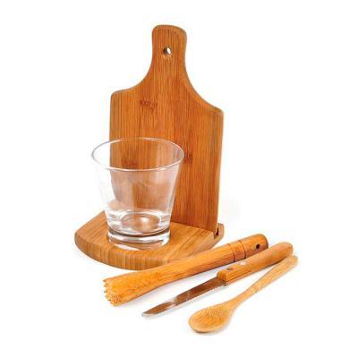 """Amélio Presentes - Conjunto composto por seis acessórios para caipirinha, sendo um copo em vidro de 350ml, um socador/pilão em bambu, uma faca para frutas de 4"""" em aço i..."""