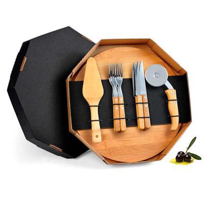 amelio-gourmet - Conjunto para Pizza em Bambu/Aço Inox. Acompanha tábua e espátula em Bambu; quatro facas de mesa, quatro garfos de mesa e cortador de Pizza em Bambu/I...