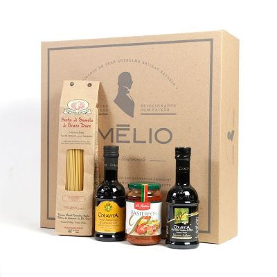 Amélio Gourmet - Kit Gourmet com massa especial italiana, molho vermelho, azeite extra virgem e vinagre balsâmico