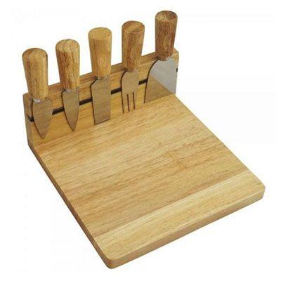 - Kit queijo com 6 peças, base e 5 talheres.