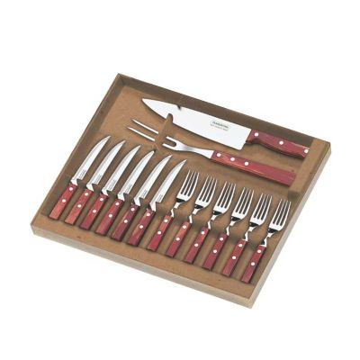 Kit churrasco Tramontina 14 peças. Gravação da logo a laser nas 06 facas de mesa e na faca peixeira.
