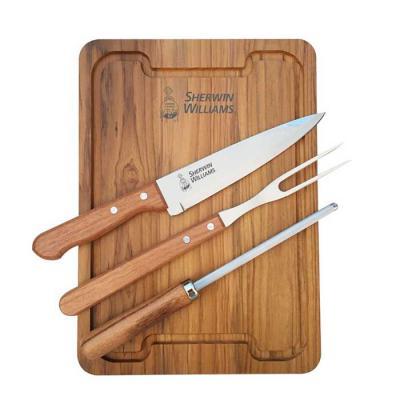 royal-laser - Kit churrasco com garfo e faca Tramontina, chaira (afiador) e tábua para churrasco. Gravação da logo a laser na tábua e na faca. Acompanha caixa para...