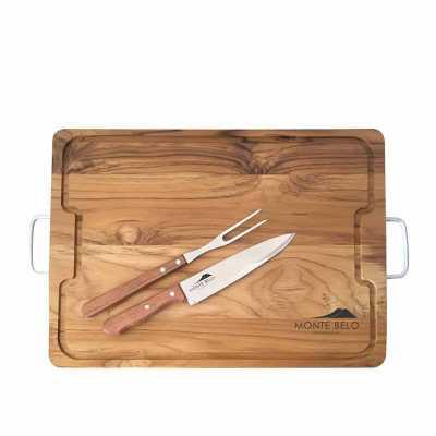 Tábua de churrasco padrão costela 36 X 50 cm, faca e garfo Tramontina. Gravação da logo a laser n...
