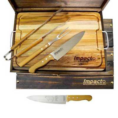 Kit churrasco Tramontina em estojo e madeira envelhecida com tábua