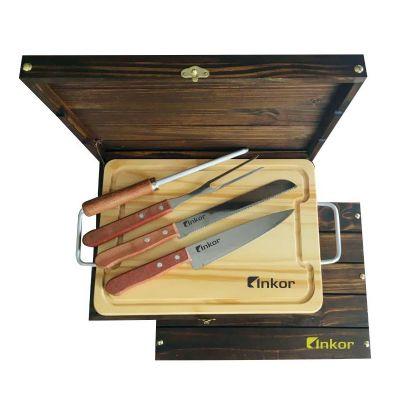 Kit churrasco em estojo de madeira envelhecida - Royal Laser