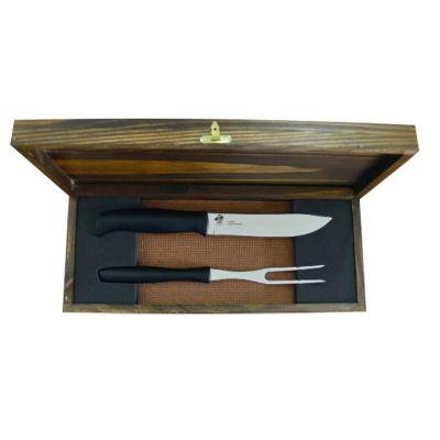 royal-laser - Kit churrasco com 02 peças e estojo de madeira