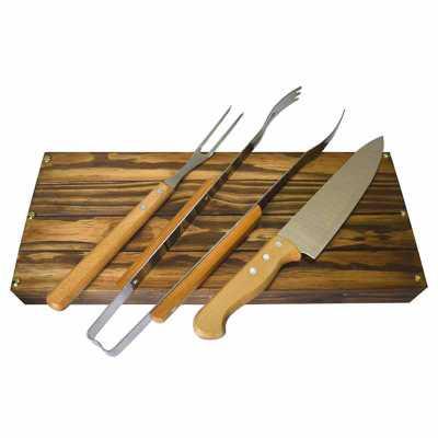 Kit churrasco Tramontina em estojo de madeira envelhecida - Royal Laser