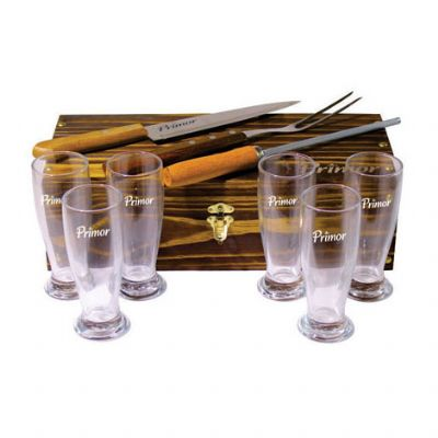 Royal Laser - Conjunto de churrasco com faca, garfo, chaira e copos de chopp.