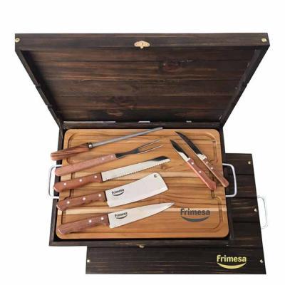 Kit churrasco 04 peças em estojo de madeira envelhecida