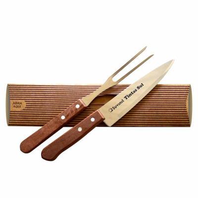 """Kit churrasco Martinazzo composto de faca 7"""" e garfo trinchante. Gravação da logo a laser na faca..."""