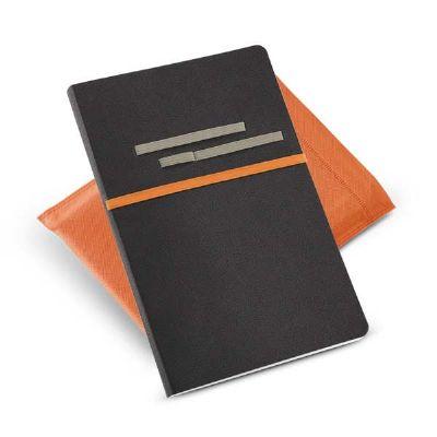 Choque Promocional - Caderno com capa em sintético e elásticos porta objetos