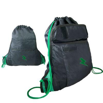 Choque Promocional - Mochila saco com bolso frontal com fechamento em velcro, extensão lateral com design diferenciado. Fabricação própria, gravação em silk ou bordado. Co...