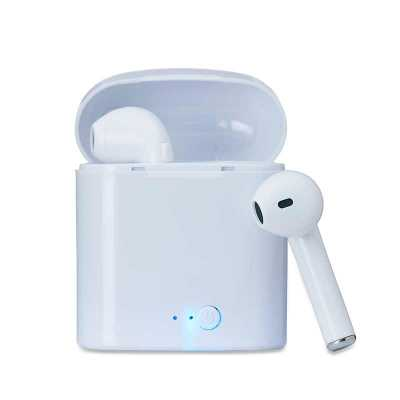 Fone bluetooth plástico com case carregador. Para utilização do produto, pressione e segure o botão lateral de ambos fones ao mesmo tempo, luzes led e... - MSN Brindes