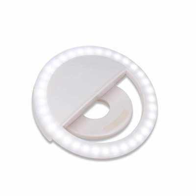 """MSN Brindes - Anel de iluminação para celular, utilizado para fotos em formato selfie. """"Ring light"""" plástico no formato """"presilha"""" para encaixe, possui três estágio..."""