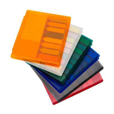 msn-brindes - Bloco de anotações com sticky notes coloridos, estojo de plástico. Embalagem, caixinha branca. Tamanho total (CxL):11,0 cm x 13,2 cm Peso:127 g
