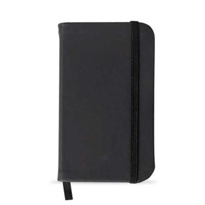 msn-brindes - Caderneta de bolso emborrachado de frente e verso liso, marcador de página em cetim e fita elástica para fechar.  Contém aproximadamente 80 folhas par...