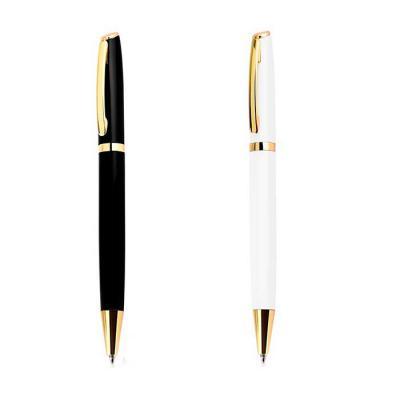 msn-brindes - Caneta metal com detalhes em dourado. Clip metálico com anel dourado abaixo, esferográfica aciona por giro. Medidas aproximadas para gravação (CxD):4...