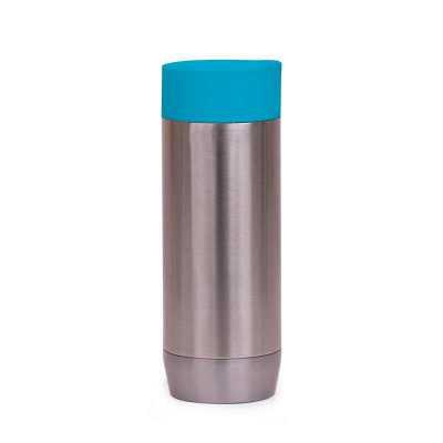 msn-brindes - Copo inox 420ml com tampa rosqueável e parede dupla. Tampa plástica com abertura para bocal e botão acionador para liberação da passagem de líquido. O...