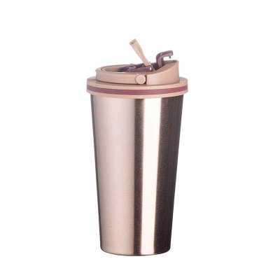 Copo Metal 450ml Copo de metal 450ml com tampa. Copo com parte inferior emborrachada antideslizante, tampa rosqueável com alça para transporte e alava... - MSN Brindes